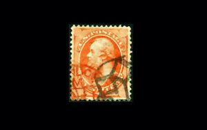US Stamp Used, XF S#160  Beautiful red foreign cancel + fancy domestic cancel