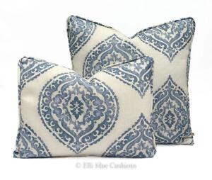 Jane Churchill Blakewater Designer Linen Blue Fabric Sofa Cushion Pillow Cover
