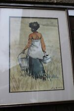A lucy M Wiles African signed print depicting a girl carrying  water