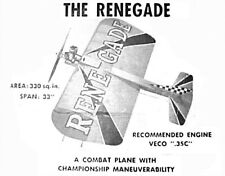 """Model Airplane Plans (UC): Renegade 33"""" Combat for .35 Engines (Veco)"""