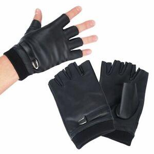 Fingerless Gloves Women Black PU Leather Female Button Warm Half Finger Driving