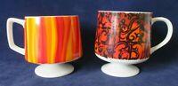 Vintage Howard Hold Pedestal Mugs Orange Flame 7545 Scroll 7534 See Notes 1967