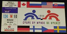 1996 - WORLD HOCKEY CUP - MONTREAL MOLSON CENTER - FINAL TICKETS STUB - ORIGINAL