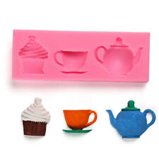 Silicone Teapot Cup Cupcake Paste Cake Fondant Mould Baking Soap Mold DIH_wk