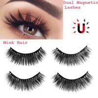 2Pairs 3D Mink Hair Dual Magnetic False Eyelashes Soft Voluminous Thick Cross SK