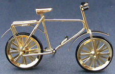 1:12 Scale Gold Coloured Child's Metal Bicycle Tumdee Dolls House Miniature
