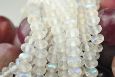 25 Snow Frost AB Faceted Fire Polished Czech Glass Rondelle Beads 7MM