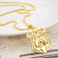 Halskette mit Anhänger gold Englische Bulldogge Hund Valentinstag Geschenk Kette