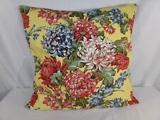 POTTERY BARN 1 Euro PILLOW SHAM Yellow Rose Square Zip In Linen Country Cottage