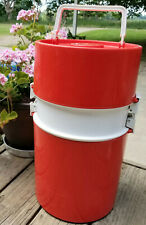 1970's Round Red Cylinder Ingrid Cooler Top Storage for Dishes Very Nice Unique
