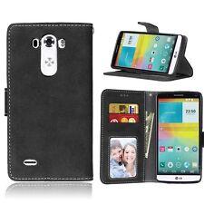 Premium Black Retro Matte PU Leather Flip Case Wallet Cover For Various Phones