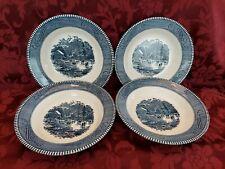 "Lot Set 4 Currier & Ives Royal 8 1/2"" Soup Bowls Early Winter Blue Vintage  EUC"