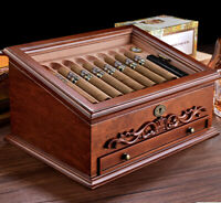 World Class Vintage Design Habanos Cedar Wood Cigar  Humidifier  Storage Case