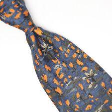 VTG Neiman Marcus Mens Silk Necktie Blue Orange Green Floral Print Tie Spain