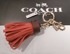 NWT COACH RED W/BROWN LEATHER TASSEL BAG CHARM KEY CHAIN RING FOB 58505