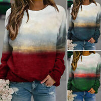 Womens Vintage Ombre Printed Long Sleeve Top Jumper Shirt Ladies Blouse Pullover