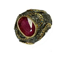 Beautiful Ruby Sapphire Gemstone Ring With Diamond 925 Silver Ring