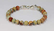 Sterling Silver~8Mm~8 1/2 Inches Beenjeweled African Opal Bead Bracelet~.925