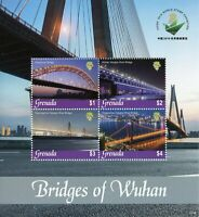 Grenada Architecture Stamps 2019 MNH Bridges of Wuhan Qingchuan Bridge 4v M/S