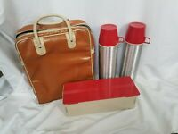 Vintage Thermos #2484 NOS Vaccuum Bottle Ribbed Aluminum USA Lunch Set 2 Bottles