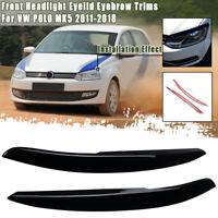 Pair Black Front Headlight Eyelid Eyebrow Trims For VW POLO MK5 2011-2018