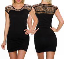Sexy MISS Trendy Girly Donna MINI ABITO STRETCH buco DRESS NERO 34/36/38 NUOVO