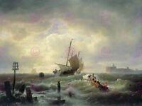 Painting Seascape Maritime Achenbach Hellevoetsluys Harbour Canvas Art Print