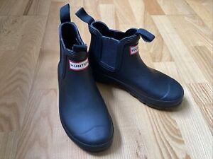 Hunter Chelsea Short Wellington Ankle Boots Black Worn Once UK 3 US 5 EU 36