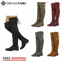 DREAM PAIRS Womens Ladies Over The Knee Boots Thigh High Party Stretch Flats