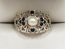 Beautiful Sterling Silver 925 Pearl Ring with Natural Sapphire Accents Sz 7.125