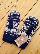BNWT Chunky Knit Snowflake Blue White Mittens Christmas Winter Gloves Size L