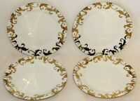 Ciroa Fiori White / Gold Swirls Porcelain Salad Side Plates Set of Four New