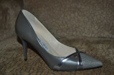 JIMMY CHOO HAXEEL SZ 6 POINTY SNAKE LEATHER PUMP SHOE Gray Twilight Anthracite