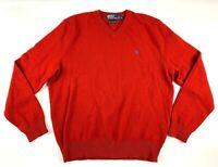 Polo Ralph Lauren Sweater Mens XL Lambs Wool Red Thin Knit V-neck Logo