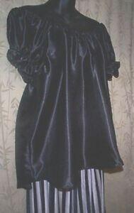 BLACK SATIN Renaissance PIRATE CHEMISE CIVIL WAR blouse