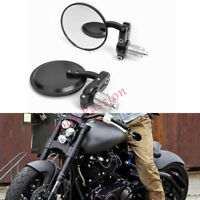 """BLACK CNC ROUND 7/8"""" HANDLE BAR MIRRORS FOR BOBBER CHOPPER CAFE RACER CLUBMAN"""