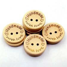 """Decorative Wooden Buttons 20mm """"Handmade with love"""" pack of 5"""