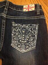 Machine crystal nouvelle destroyed distressed women  denim blue jeans sz 5/28 #9