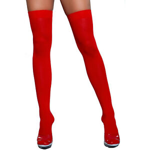 Opaque Nylon Thigh High Stockings Hosiery Neon Costume Club Dance Rave 1932
