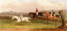 Hand painted oil painting horse race horse racing racing racehorse in landscape