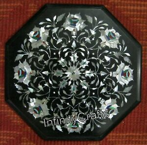 14 x 14 Inches Black End Table Top Octagon Coffee Table Mother of Pearl Inlaid
