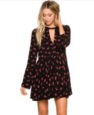 NEW Free People Tegan Floral Print Mini Dress 2 Black Party Date Wedding