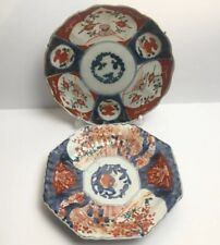 More details for antique japanese imari pates hand made and painted decorated with flowers