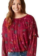 FREE PEOPLE 0226 Floral Print Mesh Blouse in Berry Combo M, NEW $78