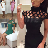 AU Womens Bodycon Choker High Neck Ladies Caged Sleeves Mini Party Dress