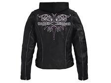 Harley Davidson Women's STEEL HEART Leather Jacket 3 in 1 Hood 97043-11VW S
