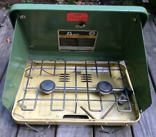 Vintage Propane Camp Stove AFC Ranger 2 Green Yellow Camping Cooking