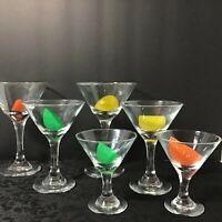"6 Libbey Embassy Plain Cocktail Martini Glasses 7oz 6.4"" + 4oz 5"" + 3 oz Tasters"