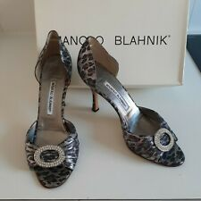 MANOLO BLAHNIK Rare Leopard Print D'Orsay Heels,  made in Italy Size 39