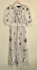 SRETSIS LILIANA Embroidered & Knitted Dress, White Pearl, US 2, $1000 Retail